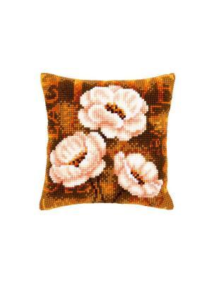 Набор для вышивания лицевой стороны наволочки Анемоны в орнаменте 40*40см Vervaco. Цвет: коричневый, белый, горчичный, оранжевый, розовый