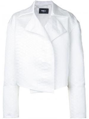 Укороченный пиджак Yang Li. Цвет: белый