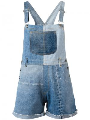 Patchwork dungarees Re/Done. Цвет: синий