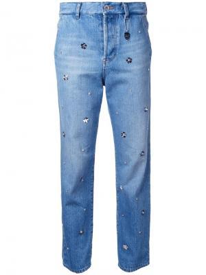 Декорированные джинсы бойфренды Muveil. Цвет: синий