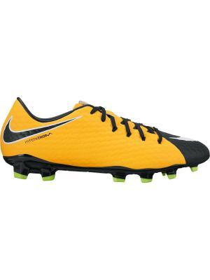 Бутсы HYPERVENOM PHELON III FG Nike. Цвет: оранжевый, белый