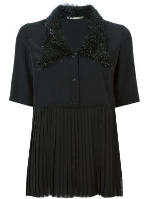 Embellished collar pleated blouse Marco De Vincenzo. Цвет: чёрный