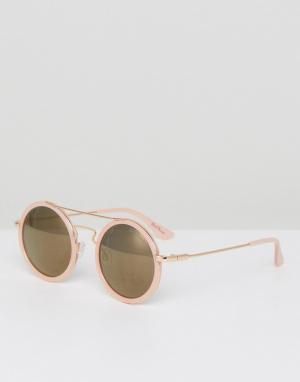 Black Phoenix Круглые солнцезащитные очки с планкой. Цвет: розовый