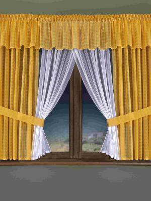 Комплект штор Wisan. Цвет: горчичный, белый
