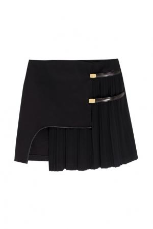 Хлопковая юбка-мини Anthony Vaccarello. Цвет: черный