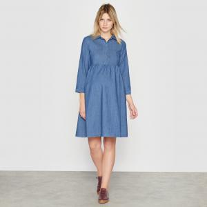 Платье из денима для периода беременности R essentiel. Цвет: синий потертый