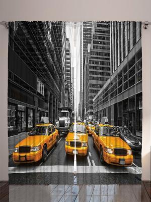 Плотные фотошторы Жёлтое такси в Нью-Йорке, оранжевый вечер, облака голубом небе, 290x265 см Magic Lady. Цвет: черный