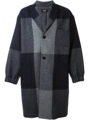 Пальто в клетку Cini. Цвет: синий
