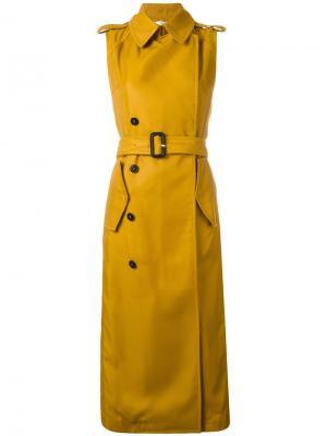 Пальто-тренч без рукавов Victoria Beckham. Цвет: жёлтый и оранжевый