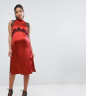ASOS Maternity Платье для беременных с кружевными вставками. Цвет: красный