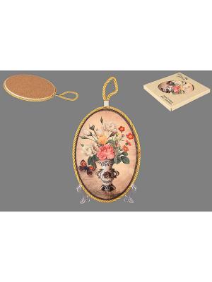Подставка под горячее Букет с бабочкой Elan Gallery. Цвет: светло-коричневый, розовый, желтый, белый