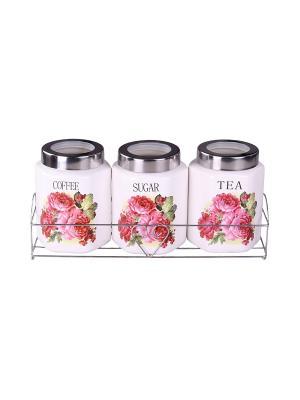 Набор банок на металлической подставке 3 предметов (800 мл.) PATRICIA. Цвет: розовый
