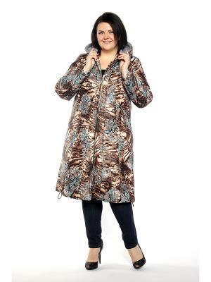 Пальто Pretty Woman. Цвет: темно-коричневый, бежевый, голубой