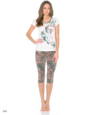 Комплект домашней одежды (футболка, бриджи) HomeLike. Цвет: зеленый, молочный