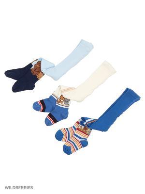 Колготки детские (3 шт) PERA MAYA. Цвет: синий, голубой, кремовый