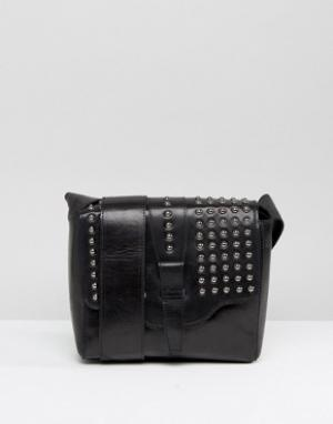 Urbancode Black Real Leather Cross Body Bag with Pewter Studded Flap. Цвет: черный