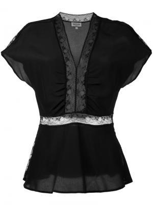 Блузка с кружевными вставками Paul & Joe. Цвет: чёрный