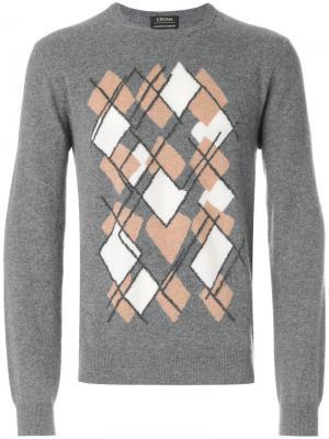 Джемпер с геометрическим принтом Z Zegna. Цвет: серый