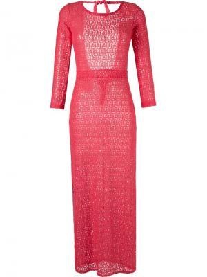 Пляжное платье с длинными рукавами Brigitte. Цвет: красный