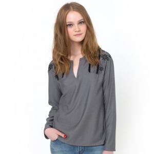 Блузка с вышивкой и бахромой COLOR BLOCK. Цвет: серый