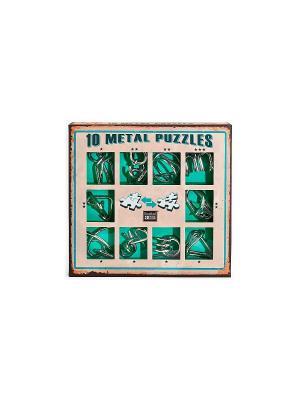 Набор из 10 металлических головоломок (зеленый) Eureka! 3D Puzzle. Цвет: серебристый