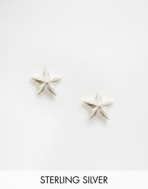 Fashionology Серебряные серьги-гвоздики в форме звездочек. Цвет: серебряный
