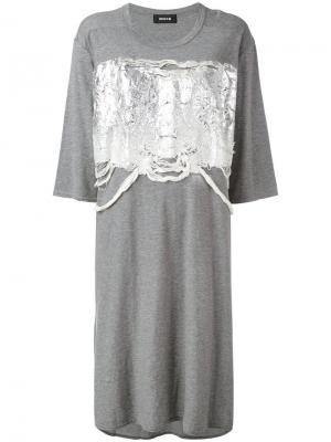 Платье-футболка с блестящей аппликацией Zucca. Цвет: серый