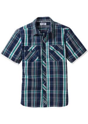 Рубашка в клетку с коротким рукавом (синий джинсовый клетку) bonprix. Цвет: синий джинсовый в клетку