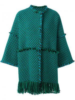 Тканое пальто с необработанными краями Gianluca Capannolo. Цвет: синий