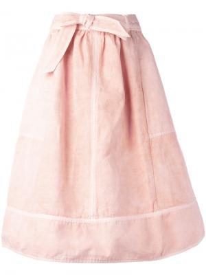 Лоскутная юбка с поясом Ulla Johnson. Цвет: розовый и фиолетовый