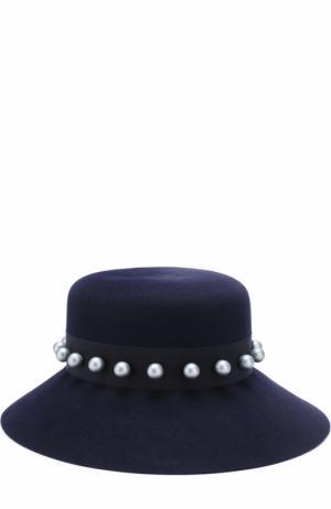 Фетровая шляпа New Kendall с декорированной лентой Maison Michel. Цвет: темно-синий