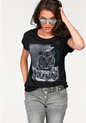 Футболка Aniston. Цвет: черный/серый/серебристый