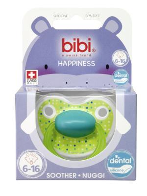 Пустышка Premium Dental силикон 6-16 мес. Happiness LovelyDots в ассортименте Bibi.. Цвет: зеленый, синий