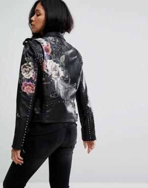 BLANK NYC Куртка из искусственной кожи с цветочной отделкой. Цвет: черный