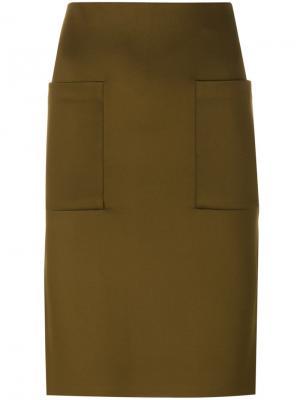 Классическая юбка-карандаш By Malene Birger. Цвет: зелёный