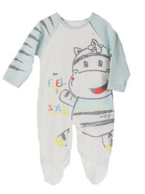 Комбинезон для малышей WO&GO. Цвет: молочный, светло-голубой