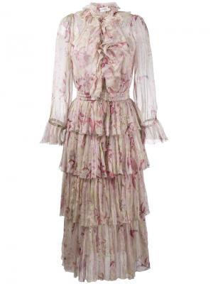 Платье Winsome с цветочным узором Zimmermann. Цвет: телесный