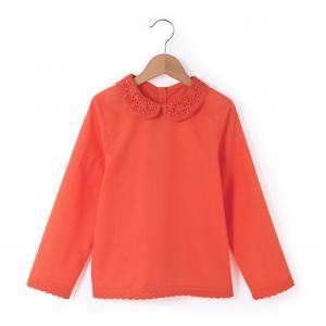 Блузка с закругленным отложным воротником и вышивкой макраме, 3-12 лет La Redoute Collections. Цвет: коралловый