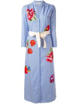 Полосатое платье-рубашка Jucca. Цвет: синий