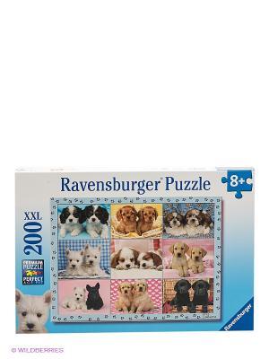 Паззл Прелестные щенки XXL, 200 шт Ravensburger. Цвет: голубой, белый, черный