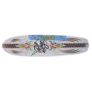 Дека для скейтборда лонгборда  Zinger Nano Kuztomz 29 x 7.125 (18.1 см) Krooked. Цвет: мультиколор,белый