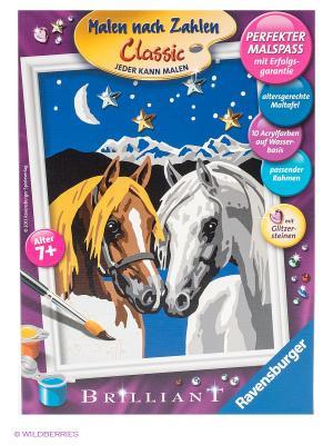Набор для творчества Две лошадки Ravensburger. Цвет: коричневый, черный, синий, серый