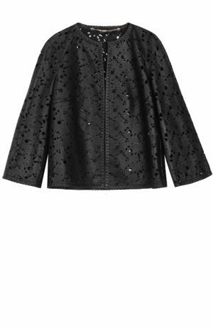 Кожаная куртка свободного кроя с перфорацией Escada. Цвет: черный
