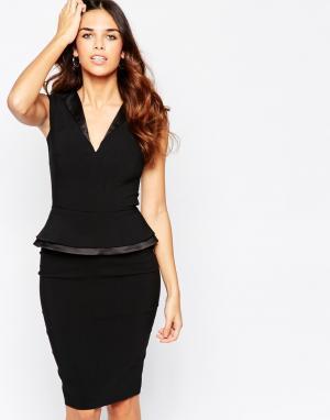 Hybrid Платье с баской и V‑образным вырезом Grace. Цвет: черный