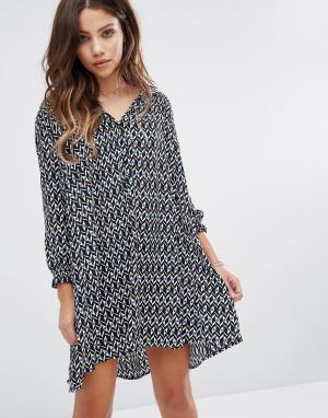 BA&SH Платье мини с принтом. Цвет: черный