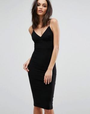 Club L Платье-миди с бретельками. Цвет: черный