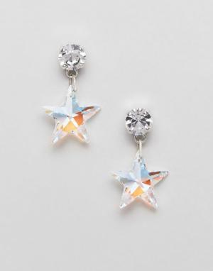 Krystal London Крупные серьги с кристаллами Swarovski. Цвет: очистить