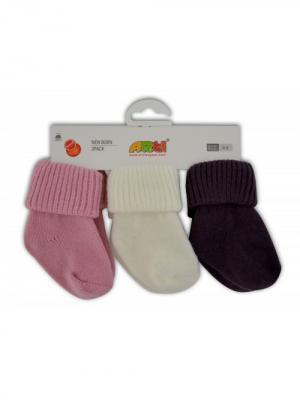 Носки шерстяные, 3 шт. ARTI. Цвет: темно-бордовый, бледно-розовый, белый