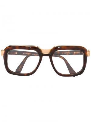 Очки с квадратной оправой Cazal. Цвет: коричневый