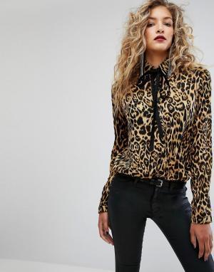 Motel Рубашка с воротом на завязке и леопардовым принтом. Цвет: коричневый